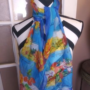 Vintage Scarf Blue Yellow Red Flower & Vegtables